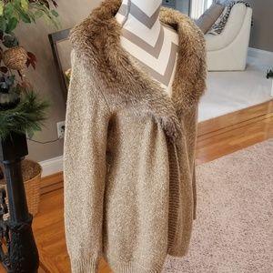 Fur trimmed sweater